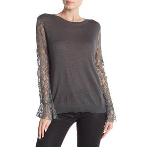 14th & Union Mixed Media Lace Long Sleeve Sweater